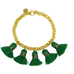 18 carat gold plated bronze chain. green cotten tassels (approx. 2,3cm).