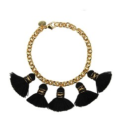 18 carat gold plated bronze chain. Black cotten tassels (approx 2,3cm).