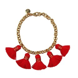 18 carat gold plated bronze chain. red cotten tassels (approx 2,3cm).